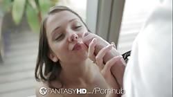 FantasyHD - Petite euro babe Foxi Di deep throats and fucked